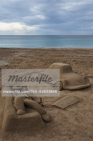 Sand Sculpture on Playa de Albir, L'Alfaz del Pi, Altea, Marina Baixa, Costa Blanca, Alicante, Valencian Community, Spain Stock Photo - Rights-Managed, Image code: 700-02833848