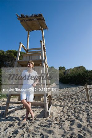 Man by Lifeguard Chair, Ibiza, Spain Stock Photo - Rights-Managed, Image code: 700-02887484