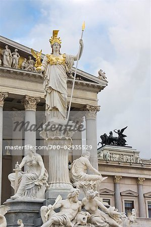 Pallas Athene Fountain in Front of the Parliament Building, Vienna, Austria