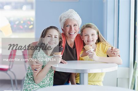 Grandmother and Granddaughters Eating Ice Cream Cones Stock Photo - Rights-Managed, Image code: 700-02957634