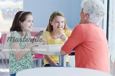 Grandmother and Granddaughters Eating Ice Cream Cones Stock Photo - Rights-Managed, Image code: 700-02957635