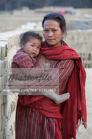 Mother and Baby in Chapagaon, Nepal Stock Photo - Rights-Managed, Image code: 700-02957843
