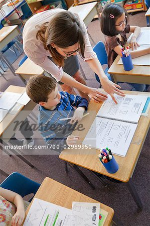 Children and Teacher in Grade One Classroom Stock Photo - Rights-Managed, Image code: 700-02989950