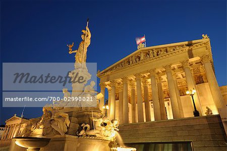 Pallas Athene Fountain and Parliament Building at Dusk, Vienna, Austria Stock Photo - Rights-Managed, Image code: 700-02990021