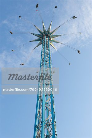 Looking Up at a Tall Chair-o-plane Ride at Prater, Vienna, Austria