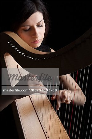 Woman Playing Harp, Rome, Italy Stock Photo - Rights-Managed, Image code: 700-03003709