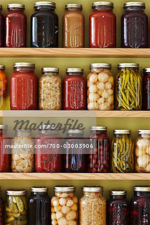 Jars of Preserves on a Shelf Stock Photo - Rights-Managed, Image code: 700-03003906