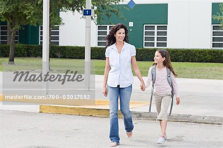 Mother Taking Daughter to School Stock Photo - Rights-Managed, Image code: 700-03017592