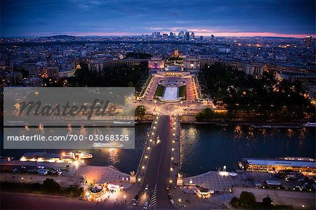 River Seine and Trocadero Fountain, Paris, France Stock Photo - Rights-Managed, Image code: 700-03068325
