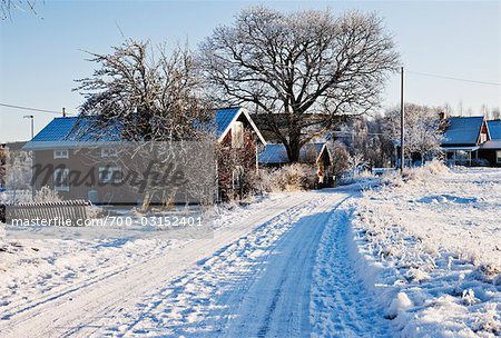 Snow Covered Road, Stora Skedvi, Dalarna, Sweden Stock Photo - Rights-Managed, Image code: 700-03152401