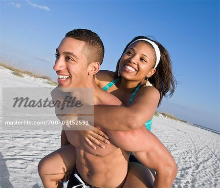 Man Giving Woman Piggyback Ride at Beach Stock Photo - Rights-Managed, Image code: 700-03152591