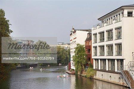 People Canoeing on River, Winterhude, Hamburg, Germany
