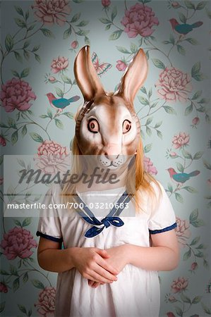 Little Girl Wearing a Bunny Mask Stock Photo - Rights-Managed, Image code: 700-03210683