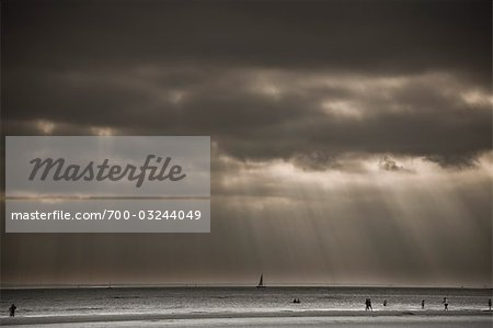 Sunrays through Dark Sky, West Wittering Beach, West Sussex, England, UK Stock Photo - Rights-Managed, Image code: 700-03244049