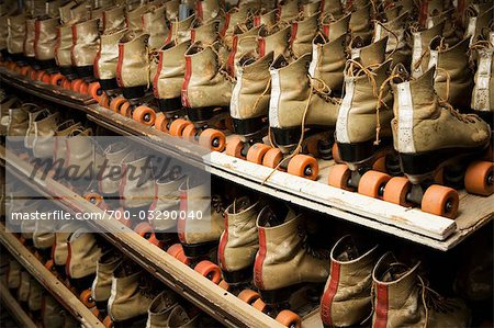 Row of Roller Skates on Shelf Stock Photo - Rights-Managed, Image code: 700-03290040
