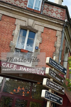 Cafe Sign, Place du Rhin et Danube , Paris, Ile-de-France, France