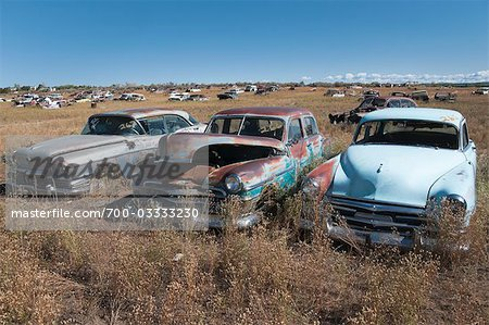 Vintage Cars in Old Junk Yard, Colorado, USA Stock Photo - Rights-Managed, Image code: 700-03333230
