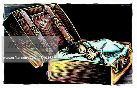 Boy Sleeping in Open Suitcase