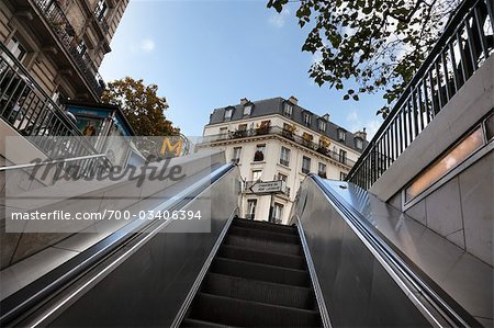 Metro Exit, Paris, Ile-de-France, France