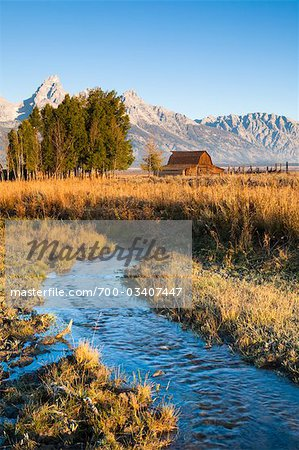 Stream at John Moulton Barn in front of Grand Tetons, Mormon Row, Jackson Hole, Grand Teton National Park, Wyoming, USA Stock Photo - Rights-Managed, Image code: 700-03407447