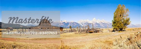 John Moulton Barn in front of Grand Tetons, Mormon Row, Jackson Hole, Grand Teton National Park, Wyoming, USA Stock Photo - Rights-Managed, Image code: 700-03407453