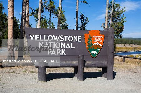 Yellowstone National Park South Entrance Sign, Wyoming, USA Stock Photo - Rights-Managed, Image code: 700-03407463