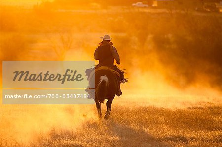 Cowboy Riding Horse at Sunset, Wyoming, USA Stock Photo - Rights-Managed, Image code: 700-03407484