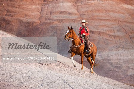 Cowgirl Riding Horse in Badlands, Wyoming, USA Stock Photo - Rights-Managed, Image code: 700-03407486