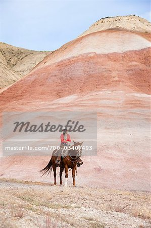 Cowgirl on Horse in Badlands, Wyoming, USA Stock Photo - Rights-Managed, Image code: 700-03407493