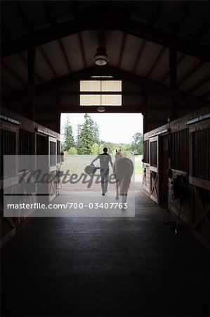 Man Leading Horse out of Stable, Brush Prairie, Washington, USA Stock Photo - Rights-Managed, Image code: 700-03407763