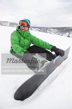 Man with Snowboard near Steamboat Springs, Colorado, USA Stock Photo - Rights-Managed, Image code: 700-03439878