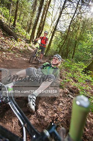 Man and Woman Mountain Biking on the Post Canyon Trail Near Hood River, Oregon, USA Stock Photo - Rights-Managed, Image code: 700-03439938