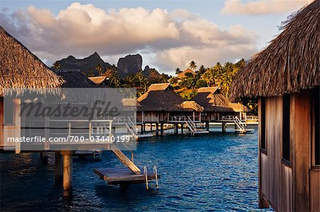 Bora Bora Nui Resort with Mt Otemanu in Distance, Bora Bora, Tahiti, French Polynesia Stock Photo - Rights-Managed, Image code: 700-03440199