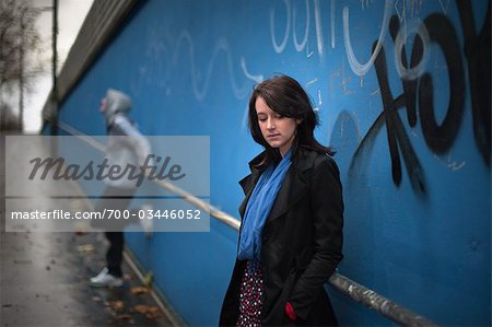 Teenagers Hanging Out by Graffiti Wall Stock Photo - Rights-Managed, Image code: 700-03446052