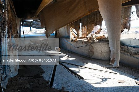 Interior of Old, Abandoned, 1961 Cadillac Eureka Hearse, Junk Yard, Desert Southwest, Soutwestern United States, USA Stock Photo - Rights-Managed, Image code: 700-03451073