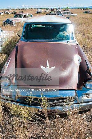 Old, Abandoned Cars in Junk Yard, Desert Southwest, Southwestern United States, USA