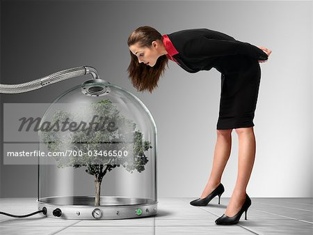 Businesswoman looking at Tree inside Pressurized Glass Dome Stock Photo - Rights-Managed, Image code: 700-03466500