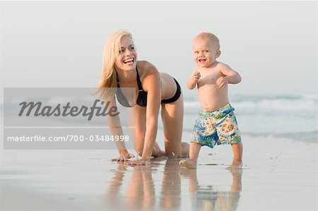 Woman and Baby on Beach Stock Photo - Rights-Managed, Image code: 700-03484998