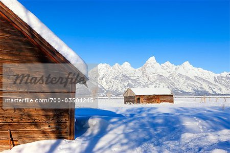 Moulton Barn in Winter, Grand Teton Mountain National Park, Wyoming, USA Stock Photo - Rights-Managed, Image code: 700-03501245