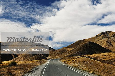 Lindis Pass Road, Canterbury, South Island, New Zealand Stock Photo - Rights-Managed, Image code: 700-03508387