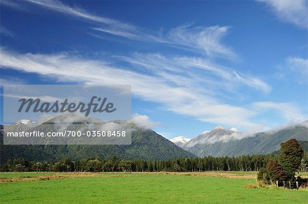 Farmland and Southern Alps, Jacobs River, West Coast, South Island, New Zealand Stock Photo - Rights-Managed, Image code: 700-03508458