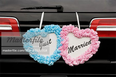 Just Married Sign on Back of Car Stock Photo - Rights-Managed, Image code: 700-03520318