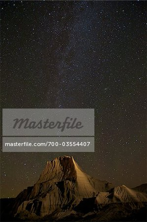 Milky Way over Dinosaur Provincial Park, Alberta, Canada Stock Photo - Rights-Managed, Image code: 700-03554407