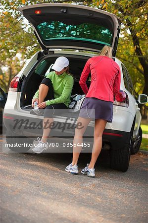 Women Getting Ready for Run, Green Lake Park, Seattle, Washington, USA Stock Photo - Rights-Managed, Image code: 700-03554455