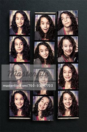 Photobooth Snapshots of Girl on Bulletin Board