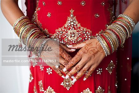 Close-up of Henna on Bride's Hands Stock Photo - Rights-Managed, Image code: 700-03567853
