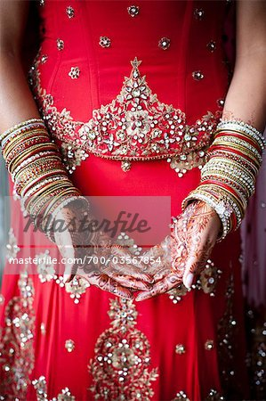 Close-up of Henna on Bride's Hands Stock Photo - Rights-Managed, Image code: 700-03567854