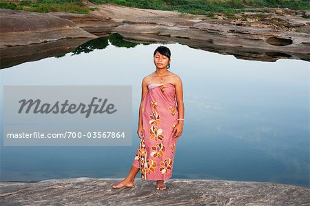 Girl Standing by Pond, SamPanBok, Ubon Ratchathani Province, Thailand Stock Photo - Rights-Managed, Image code: 700-03567864