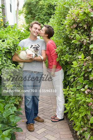 Portrait of Couple With Pug Stock Photo - Rights-Managed, Image code: 700-03596310