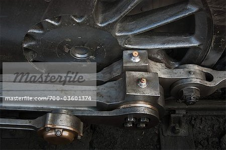 Close-up of Train Wheel and Connecting Rods of Historic English Steam Engine, Alresford, Essex, England Stock Photo - Rights-Managed, Image code: 700-03601374